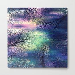 Midnight Trees : Deep Pastels Teal Lavender Metal Print