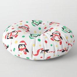 Christmas Penguins and Polka Dots Floor Pillow