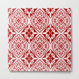 BOHEMIAN PALACE, ORNATE DAMASK: RED and WHITE Metal Print