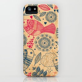 Vintage Flower and Birds iPhone Case