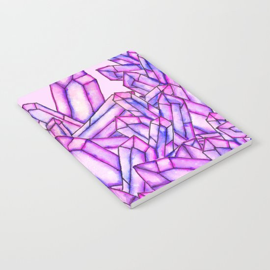 Pink purple watercolor paint crystals gem pattern Notebook