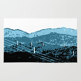 Powerlines in Japan - minimalist mountains Rug