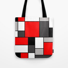 Red Black and Grey squares Tote Bag