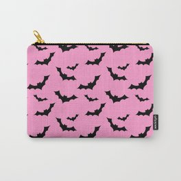 Black Bat Pattern on Pink Carry-All Pouch