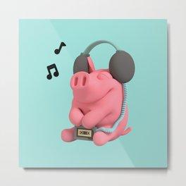 Rosa the Pig WalkMan Metal Print