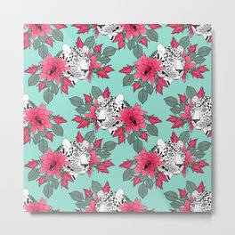Stylish leopard and cactus flower pattern Metal Print