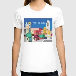 Ann Arbor, Michigan - Skyline Illustration by Loose Petals T-shirt