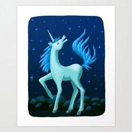 Starry Blue Unicorn Art Print