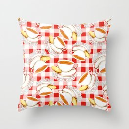 Cup of Tea, a Biscuit and Red Gingham Throw Pillow