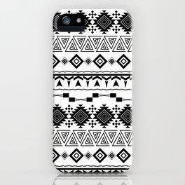 Aztec black white pattern. iPhone Case