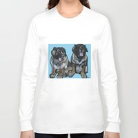 simba Long Sleeve T-shirts featuring Simba and Snuffaluffagus the Leonbergers by Pawblo Picasso