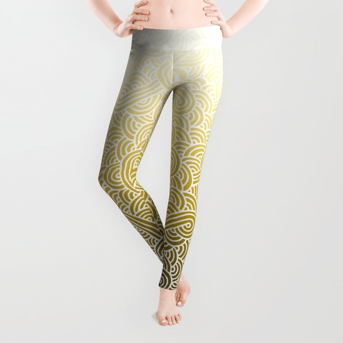 Ombre yellow and white swirls doodles Leggings