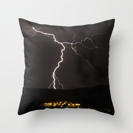 Lighting bolt during an obscure night Throw Pillow