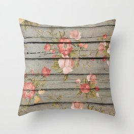 Rustic Floral Throw Pillow