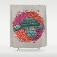 turtle Shower Curtains featuring Turtle by ErDavid