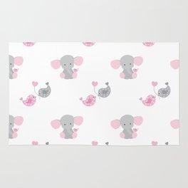 Pink Elephant Chickadee Bird Heart Rug