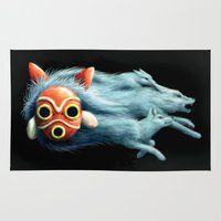 princess mononoke Area & Throw Rugs featuring Princess Mononoke by Lara Frizzell