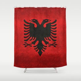 Albanian Flag in Vintage Retro Style Shower Curtain