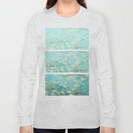 Vincent Van Gogh Almond Blossoms  Panel arT Aqua Seafoam Long Sleeve T-shirt