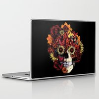 ohm Laptop & iPad Skins featuring Full circle...Floral ohm skull by Kristy Patterson Design