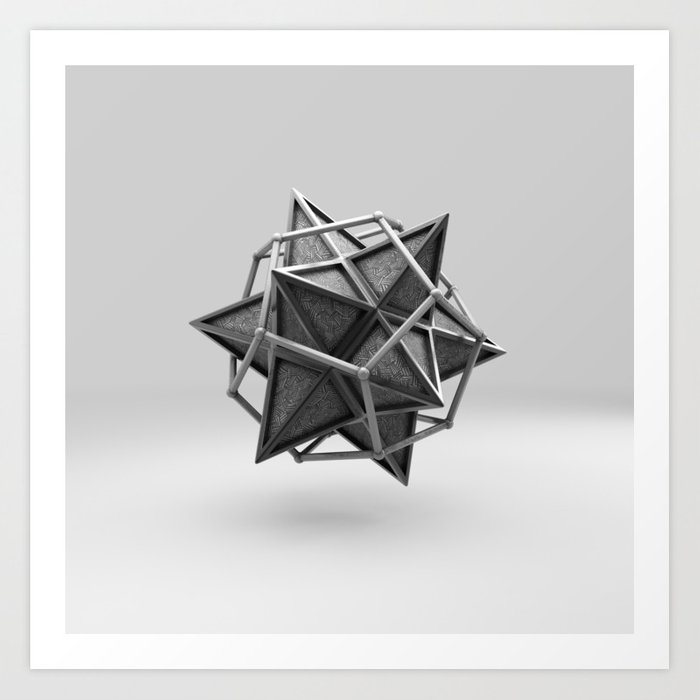 Caged Stellated Dodecahedron Art Print