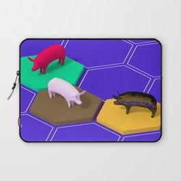 Isometric low poly piggies on hexagonal tiles Laptop Sleeve