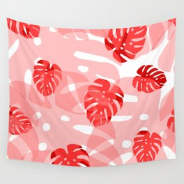 red monstera Wall Tapestry