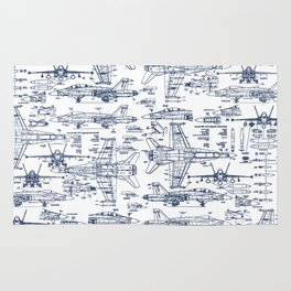 F-18 Blueprints // Blue Ink Rug