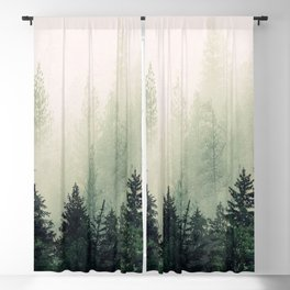 Foggy Pine Trees Blackout Curtain