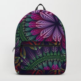 Summer mandala with fantasy flower and petals Backpack