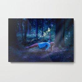 Woman Floating In Nature Metal Print