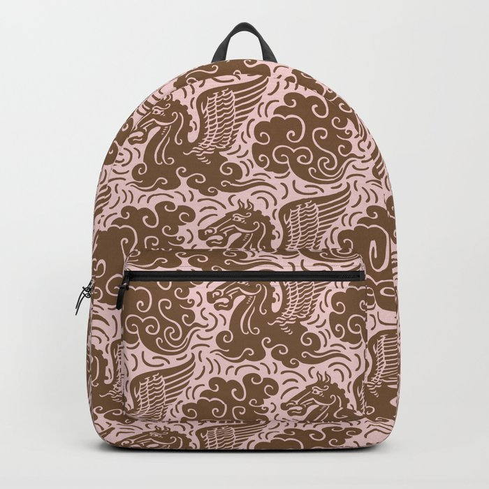 Pegasus Pattern Dusty Rose and Brown Backpack