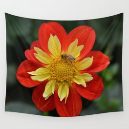 dahlia with bee Wall Tapestry