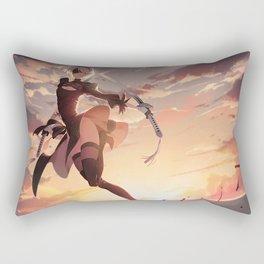 video games Nier: Automata 2B A2 (Nier: Automata) thighs NieR katana thigh-highs sunset women artwork digital miniskirt Rectangular Pillow