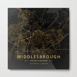 Middlesbrough, United Kingdom - Gold Metal Print