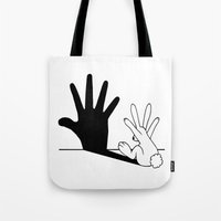 dude Tote Bags featuring Rabbit Hand Shadow by Mobii