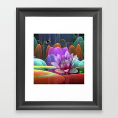 Lotus flower in a magical pool Framed Art Print