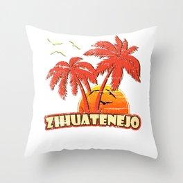 Zihuatenejo Vintage Sunset Throw Pillow