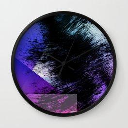 Heavy Black Brushstrokes over Magenta and Purple Shapes Wall Clock