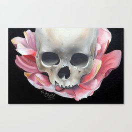 Lotus Flower and Skull Canvas Print