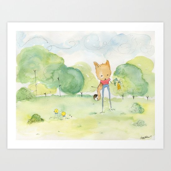 Fox in the park Art Print