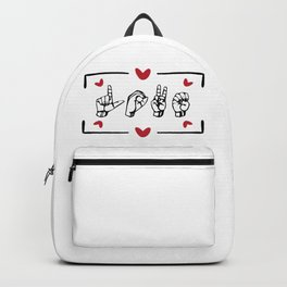 Womens Love nonverbal Language design ASL Valentine's Day Gift Backpack