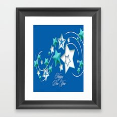 Jade and Blue Happy New Year Shooting Stars  Framed Art Print