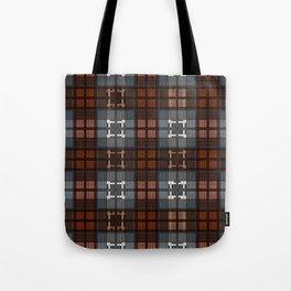Dark black and blue plaid checkered Scandinavian design Tote Bag