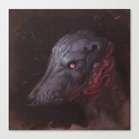 the hound Canvas Prints featuring Blue Hound by Atelierbetriebe Allison Sommers