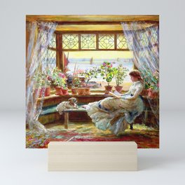 Reading by the window - Charles james lewis Mini Art Print
