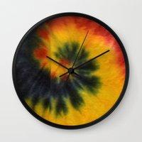 tie dye Wall Clocks featuring Tie Dye  by Mylittleradical