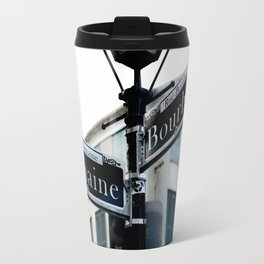 Dumaine and Bourbon - Street Sign in New Orleans French Quarter Travel Mug
