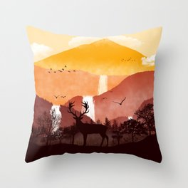 Sillhouette of Deer and Landscape Illustration Throw Pillow