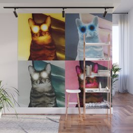 Tiled Judgement Cat Wall Mural